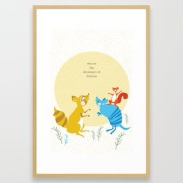 Raccoon and Armadillo Singing Framed Art Print