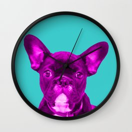 Pink Frenchie Bulldog on turquoise background Pop Art Wall Clock