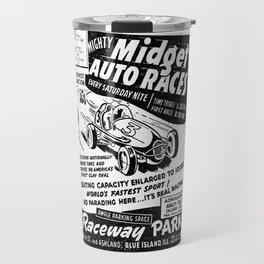Midget Auto Races, Race poster, vintage poster, bw Travel Mug
