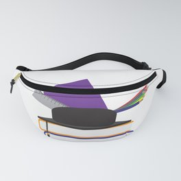 Graduation cap with chool supplies on Books Fanny Pack