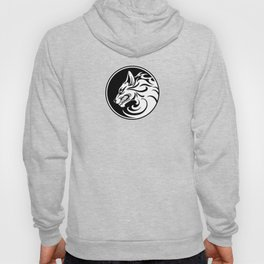 White and Black Growling Wolf Disc Hoody