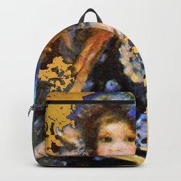 manet gold and blue little girl Backpack