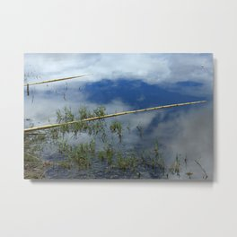 Bamboo Fishing Poles in a Lake Metal Print