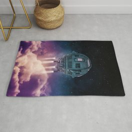 Out of the atmosphere / 3D render of spaceship rising above clouds Rug