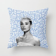 audrey - blue calligraphy background Throw Pillow