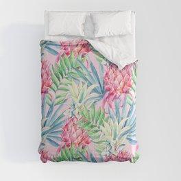 Pineapple & watercolor leaves Comforters