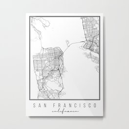 San Francisco California Street Map Metal Print