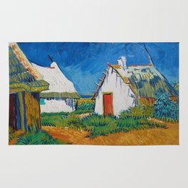 Three white cottages in Saintes-Maries by Vincent van Gogh Rug