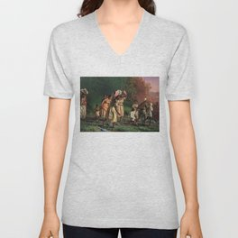 African American Masterpiece 'Emancipation or On to Liberty' by Theodor Kaufmann Unisex V-Neck