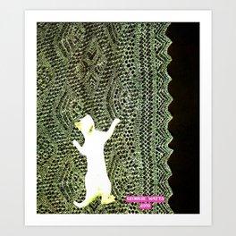 Climbing the Net handcut collage Art Print