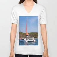 sailboat V-neck T-shirts featuring sailboat by nguyenkhacthanh