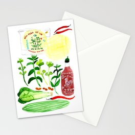 Vietnamese Rice Paper Rolls Recipe Watercolor Stationery Cards