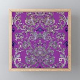 Painted Tibetan Brocade purple Framed Mini Art Print