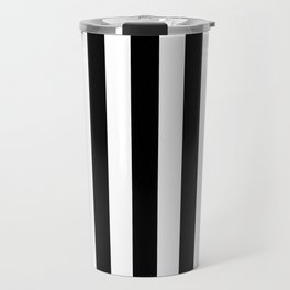 Solid Black and White Wide Vertical Cabana Tent Stripe Travel Mug