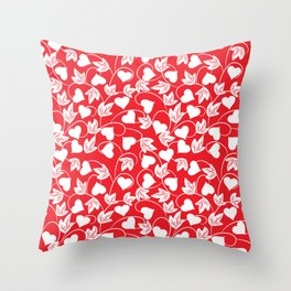 Heart Flower Pattern - Flame Scarlet - Pantone Color Throw Pillow