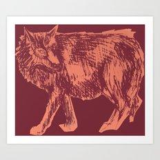 Pink Wolf Art Print