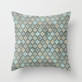 Old Moroccan Tiles Pattern Teal Beige Distressed Style Throw Pillow