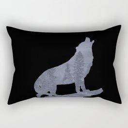 Wolf Silhouette Modern Country Art Modern Farmhouse Art Matted Picture USA A066b Rectangular Pillow