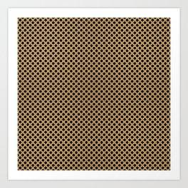 Pale Gold and Black Polka Dots Art Print