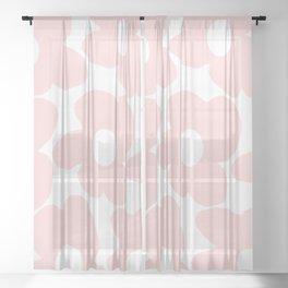 Large Baby Pink Retro Flowers on White Background #decor #society6 #buyart Sheer Curtain