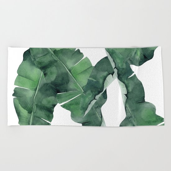 Tropical Island Leaves Beach Towel