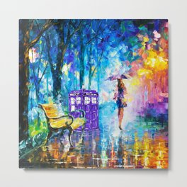 Little Tardis With The Girl Metal Print
