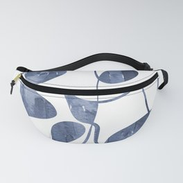 Organic abstract watercolor in blue Fanny Pack
