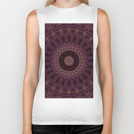 Mandala in dark purple and golden colors Biker Tank