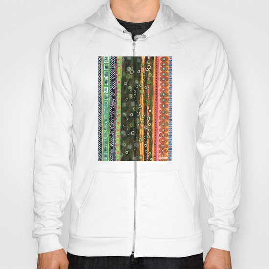 Absorbed Rings with Vertical Stripes Pattern Hoody