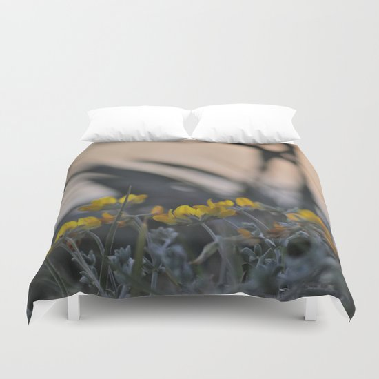 """""""Yellow flowers looking at sea sunset"""" Duvet Cover"""