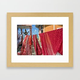 Wash day at Hindu temple, Mauritius Framed Art Print