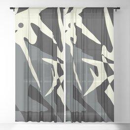 Calming Grey and Black abstract design #54 Sheer Curtain