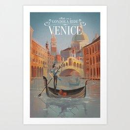 Retro Venice Travel Poster Art Print