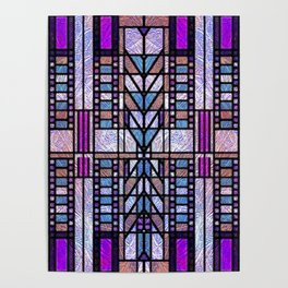 Purple and Blue Art Deco Stained Glass Design Poster