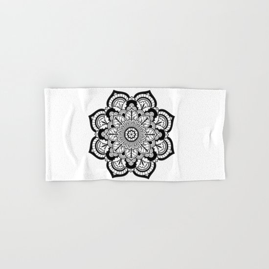 Black and White Flower Hand & Bath Towel