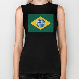 Brazil flag with ball Biker Tank