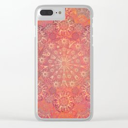 """Coral & Rosewood Mandala (pattern)"" Clear iPhone Case"