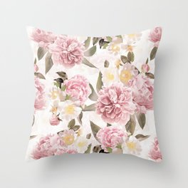 Vintage & Shabby Chic - Antique Sepia Summer Day Roses And Peonies Botanical Garden Throw Pillow