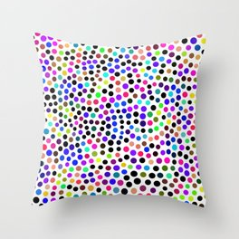 Fun Colorful Dots Pattern Throw Pillow