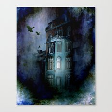 birds over the haunted house Canvas Print