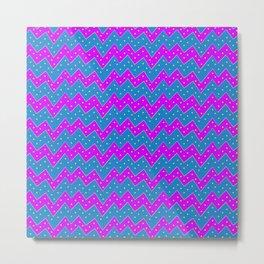 Loopy Zigzag Purple-Blue Metal Print