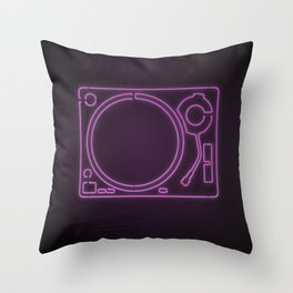 Neon Turntable 1 - 3D Art Throw Pillow