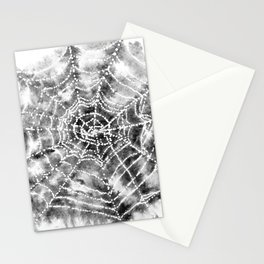 Watercolor Spider Web Halloween Art Stationery Cards