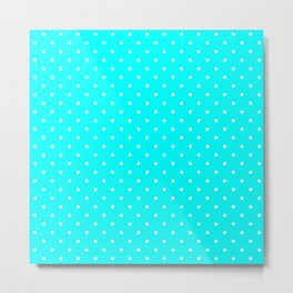 Small White Polka Dots On Aqua Blue Background Metal Print