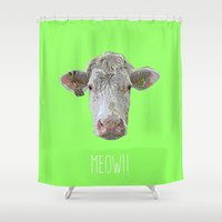 cow Shower Curtains featuring COW by Laura Maria Designs