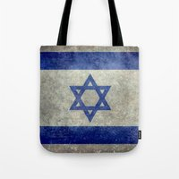 palestine Tote Bags featuring The National flag of the State of Israel - Distressed worn version by Bruce Stanfield