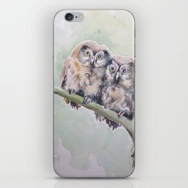 TWO CUTE OWLS Wildlife birds in the forest Watercolor painting iPhone Skin