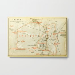 Vintage Map of Thebes Egypt (1894) Metal Print