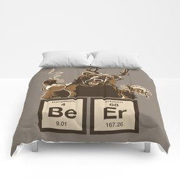 Funny chemistry bear discovered beer Comforters