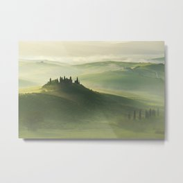 Foggy morning in Toscany Metal Print
